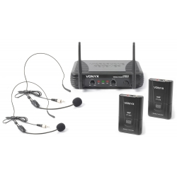 VONYX STWM712H 2-Channel VHF Wireless Headset Microphone System
