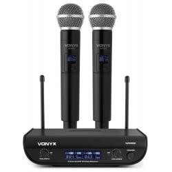 VONYX WM82 Digital UHF 2-Channel Wireless Microphone Set with 2 Handhelds