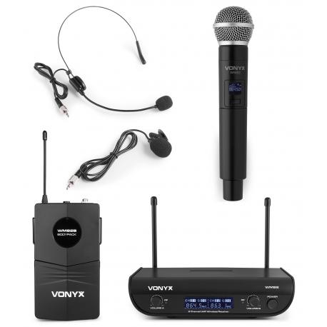 VONYX WM82C Digital UHF 2-Channel Wireless Microphone Set with handheld & bodypack