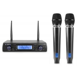 VONYX WM62 Wireless Microphone UHF 16Ch with 2 Handheld Microphones