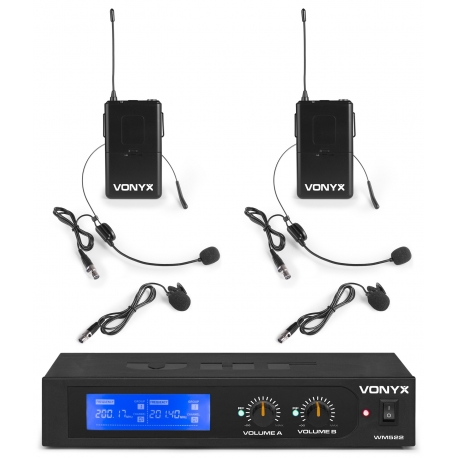 VONYX WM522B VHF 2-Channel Microphone Set with 2 Bodypacks