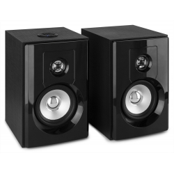 "FENTON SHF404B Powered BT Bookshelf Speakers 4"" MP3"