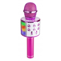 KM15P Karaoke Mic with speaker and LED light BT/MP3 LED Pink
